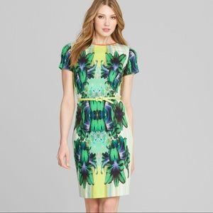 ELIE TAHARI Angie Printed Sheath Dress Neon Floral